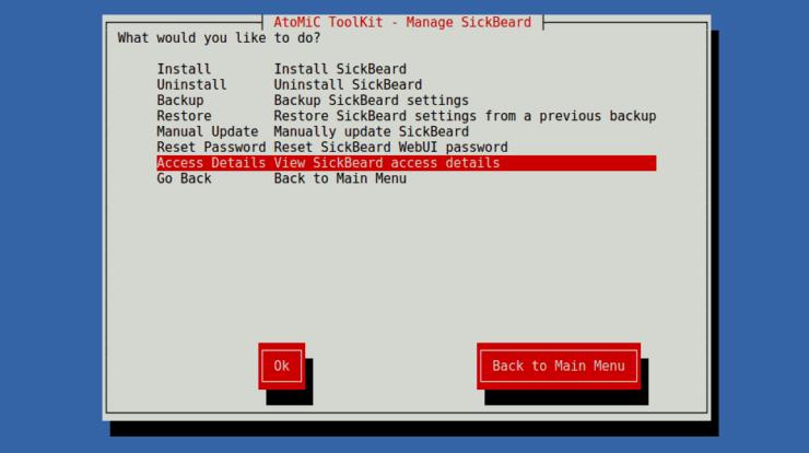 SickBeard Submenu - Access Details