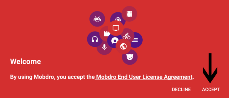 Accept to Mobdro Terms and Conditions