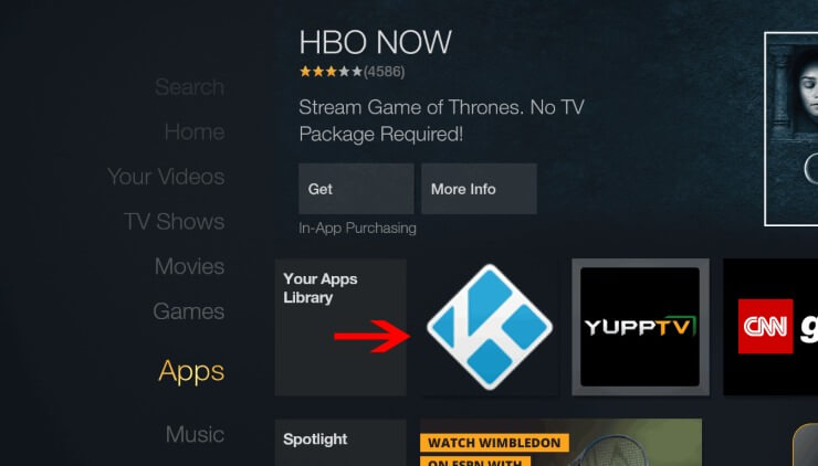Kodi Icon on Amazon Fire TV Homescreen