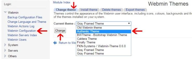 Change Webmin Theme