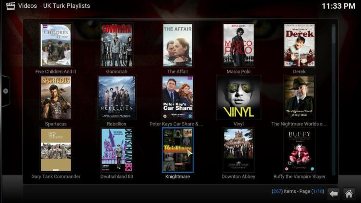 Kodi UK Turks addon content