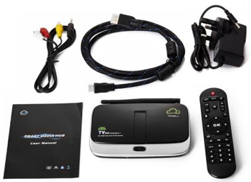 CoolWell V4 TV Box contents
