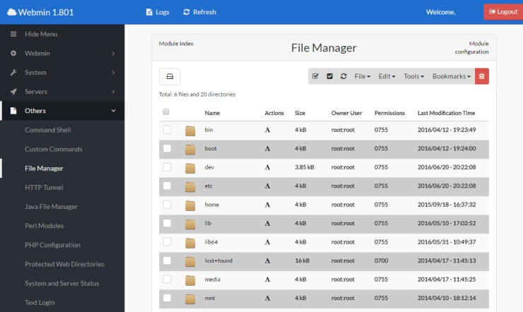 Webmin Bootstrap Theme File Manager