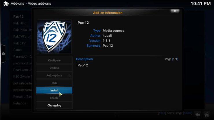 Kodi Pac 12 Plugin install