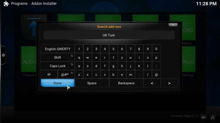 Kodi UK Turk Plugin keyboard