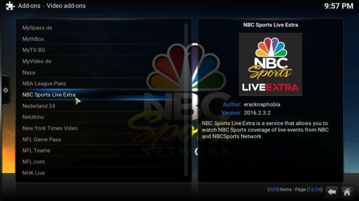 NBC Kodi sports addon install