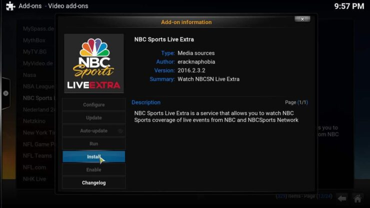 Install NBC on Kodi player