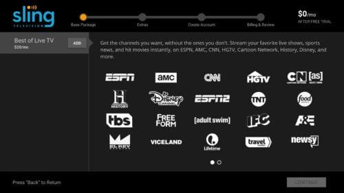 Sling TV Signup Through App