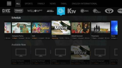 Sling TV Channels Interface