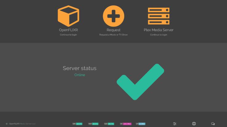 OpenFLIXR Media Server landing page