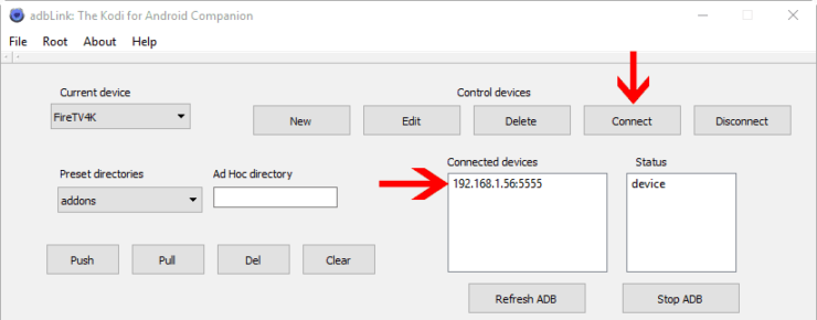 Connect to Fire TV from adbLink