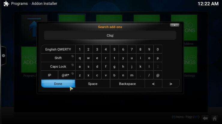 Install Cliq on Kodi find