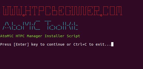 HTPC Manager install Ubuntu verify