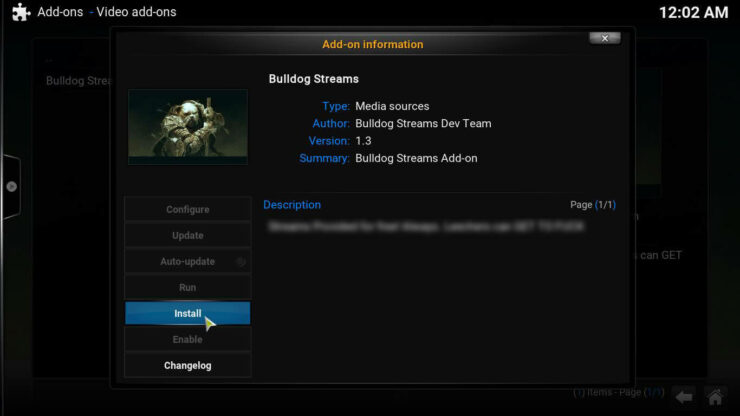 Kodi Bulldog Streams Plugin install