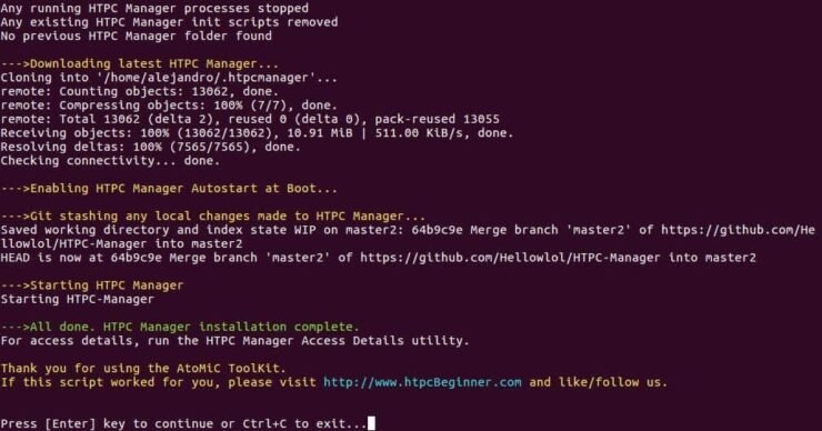 Setup HTPC Manager Ubuntu Server output