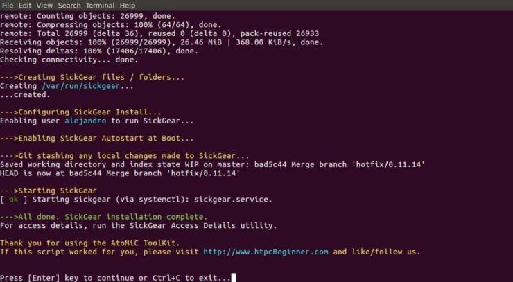 Ubuntu Server Install SickGear check