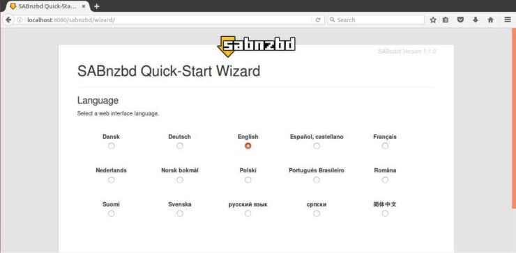 SABnzbd Web UI success