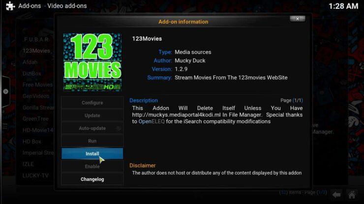 Install 123Movies Kodi Addon confirm