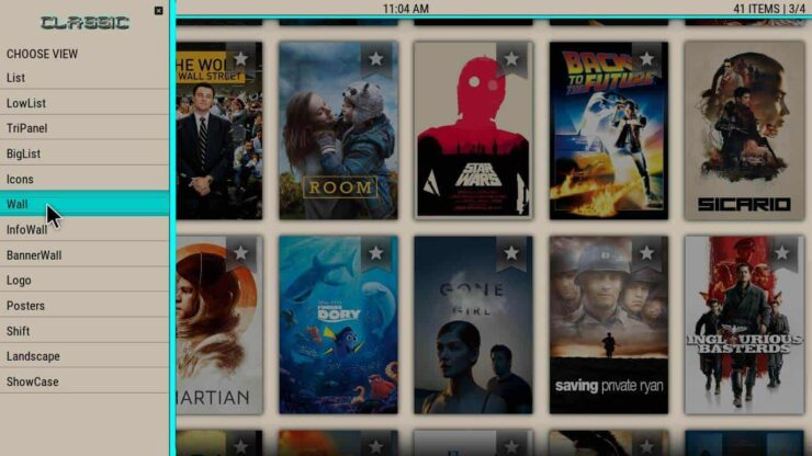 Kodi Paradise Interface addon list