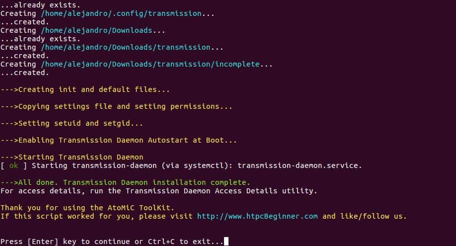 Setup Transmission Ubuntu Server output