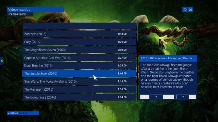 Kodi Sky GUI media info