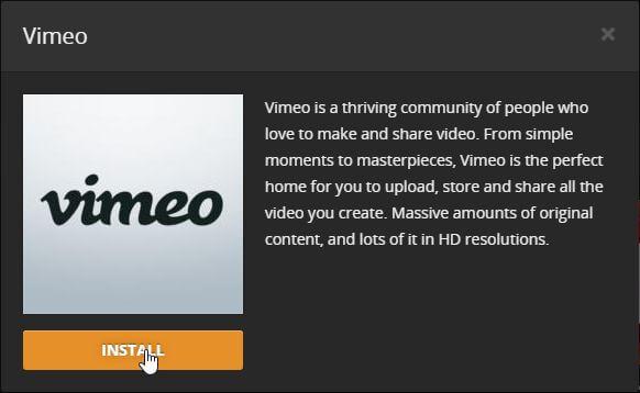 Install Vimeo on Plex confirmation