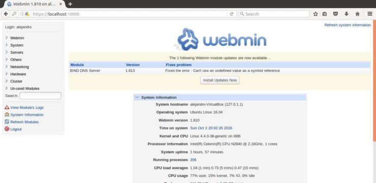 Webmin Web UI success