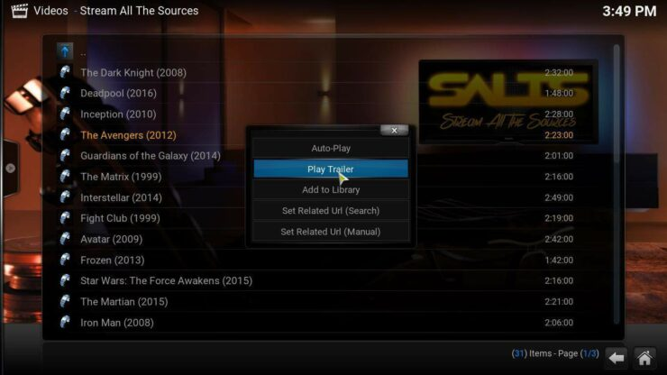 Kodi Movie Previews SALTS