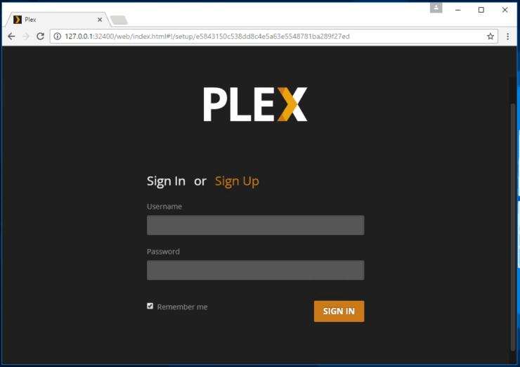 Plex Windows server install