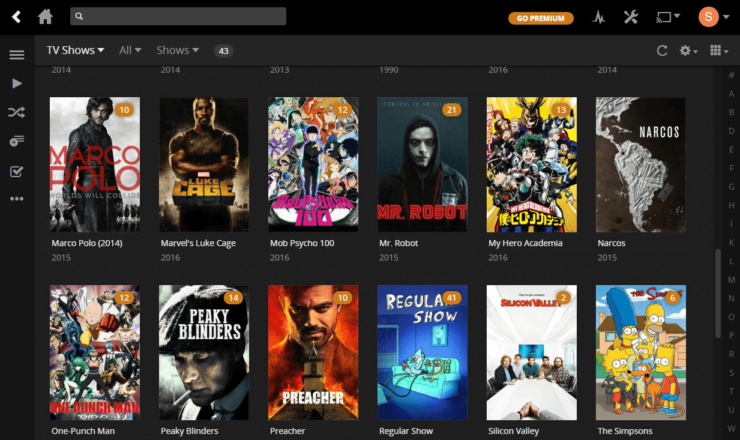 Plex Dashboard with the Library indexed