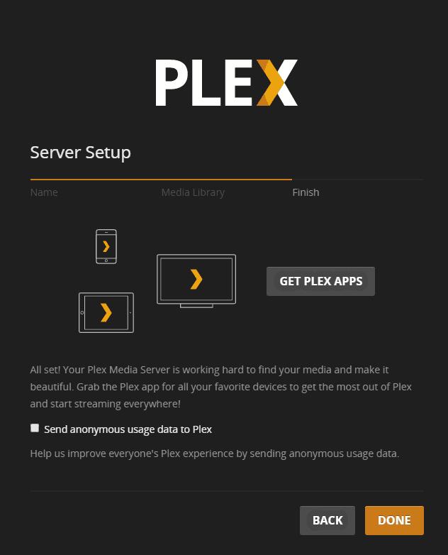 Plex Media Server finished setup screen