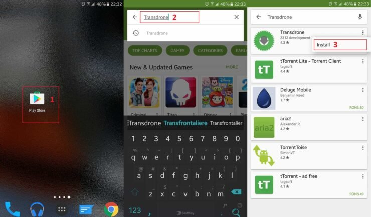 Open Play Store, search for Transdrone and install it by following the steps shown