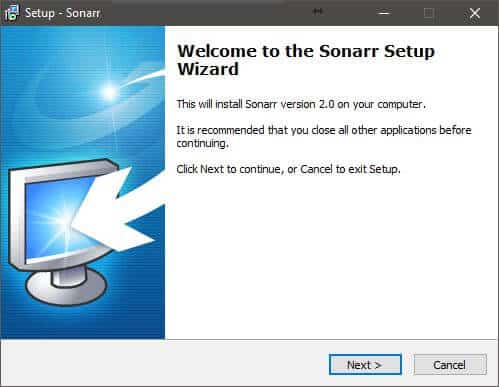 """Click """"Next"""" to go trough the Setup Wizzard and install Sonarr"""