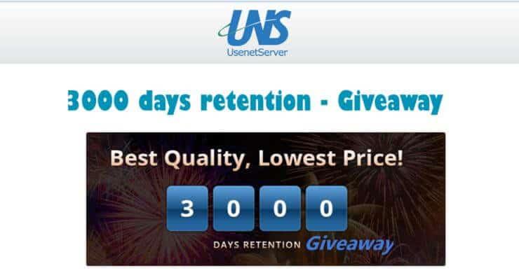 usenetserver 3000 days giveaway ft