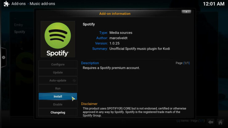 Get Spotify on Kodi install