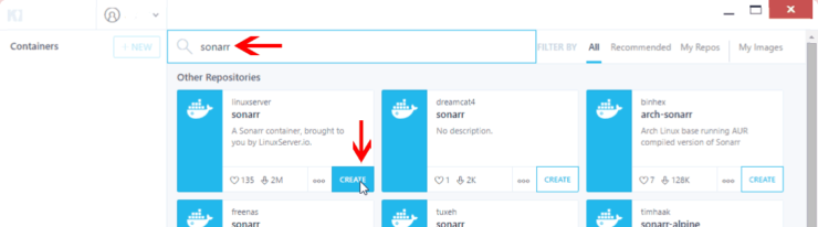 Kitematic Docker GUI - Install Containers