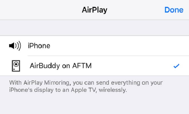Launch AirPlay on IPhone