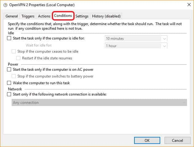 automatically connect to VPN on windows properties