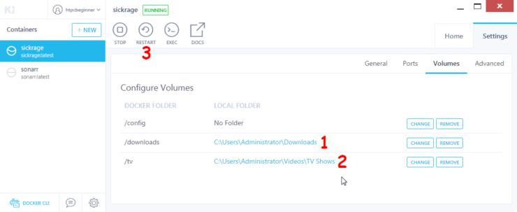 Configure Docker Volumes for SickRage