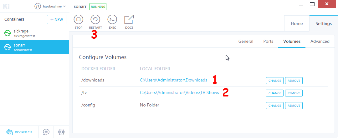 How to install Sonarr on Docker using Kitematic GUI?