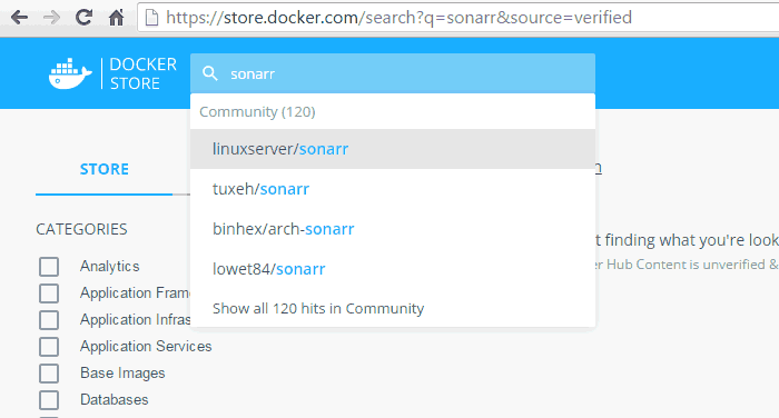 Search for Containerized Apps in Docker Store