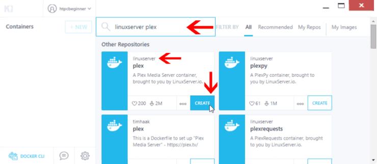 Install Plex using Kitematic