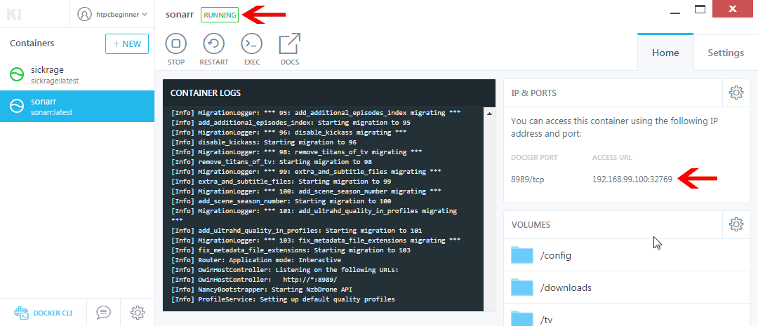 How to install Sonarr on Docker using Kitematic GUI?