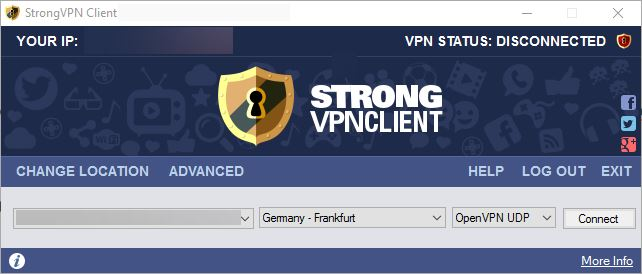 StrongVPN client interface image