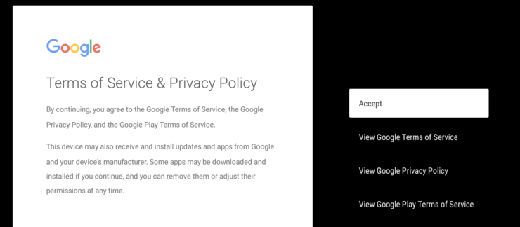 Accept to Google's Privacy Policy