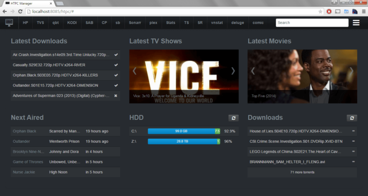 Screenshot from HTPC Manager interface after configuration