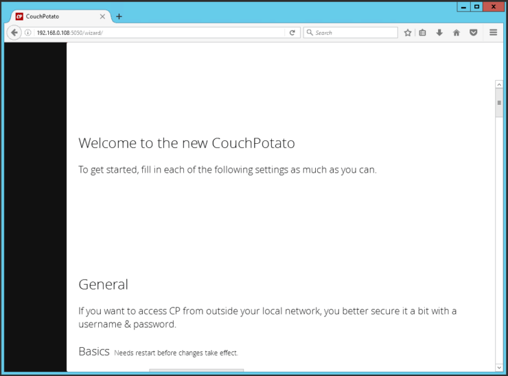 install couchpotato using docker