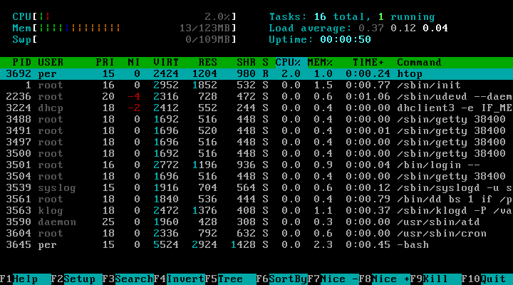 htop running on a Unix system - introduction to ssh
