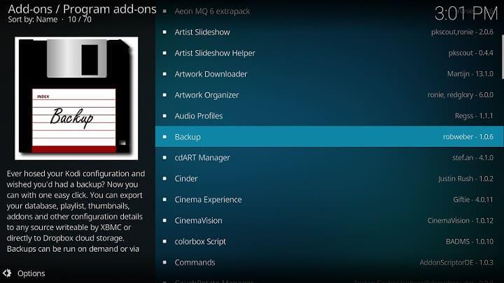 Kodi Backup Add-on to Clone Kodi Configuration