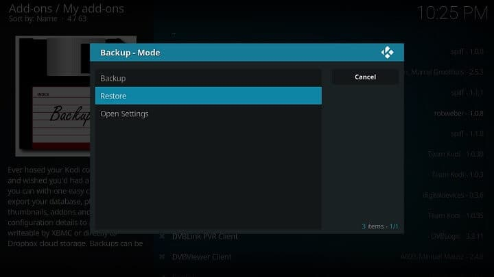 Restore kodi on another device